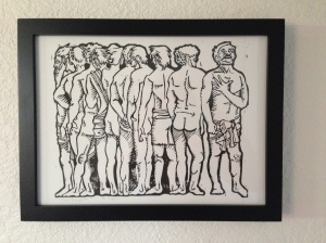The ten lepers were healed and only one turned back to be thankful. A linocut.