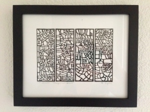 This is a linocut I did of the chapel windows at our church that my father designed.